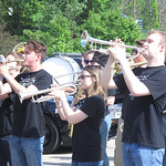 ELIZABETH DOBBINS / GAZETTE Students in Highland High School Band play the national anthem at the Hinckley Memorial Day parade.